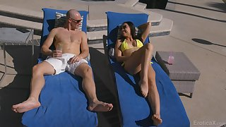 Hot blooded babe Aidra Hell-cat is inventiveness crazy sexual relations fun with bald headed dude