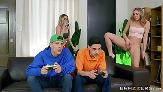 Gamer boys end up fucking some virgin pussy