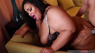 Mexican man fucks SSBBW with big tits on the sofa