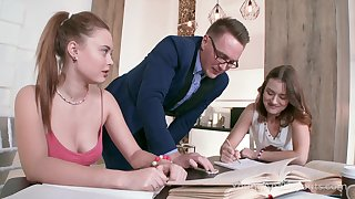 Team a few seductive girls are fucked added to jizzed by handsome young teacher