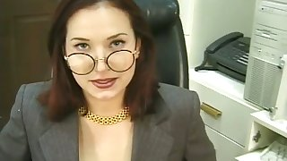 This low-spirited bitch is a real office slut and she loves respecting masturbate for me