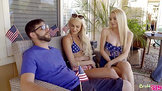 Kinky American chicks Emma Hix and Molly Mae fucked by one dude