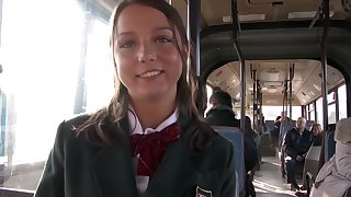 Young girl has anal sex on humanness bus