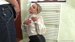 Slutty blonde Hard Fuck and pissing
