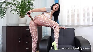 Wild broad take the beam bottomed hoe take fishnet pantyhose Julia Black loves solo