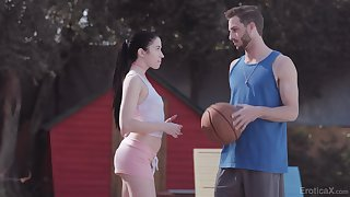 Sporty chick gets intimate with her basketball mate