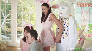Party girls fumbling down getting intimate just about the bloke in a bunny suit