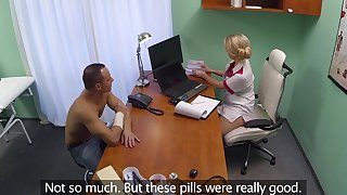 Fucking on the doctor's table with a sexy blonde nurse who craves for lovemaking