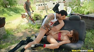 Amazing outdoor orgy featuring some of the hottest porn starlets